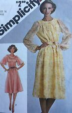 Simplicity Sewing Pattern 9866 Dress Loose Sleeve Round Neck Uncut Size 14