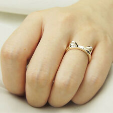Women Cute Lovely New Hot Fashion Cat Adjustable Silver Plated Ring Anel Gifts