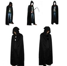 Pop New Women Men Black Hooded Cape Long Cloak Halloween Costume Dress Coats YZ