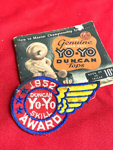 1952 Duncan YoYo Tops Cloth patch and book skill award