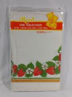 Vintage Reed Paper Tablecloth Strawberry Print Fruit Flowers Party Summer