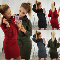 Womens Cowl Neck Long Sleeve Hoodie Hooded Sweater Pullover Jumper Dresses Tops