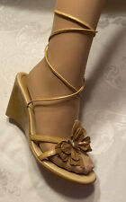 Marc Modavi Shoes Sexy Boho Butterfly Ankle Lace Wedge Sandals 39 8.5 Italy