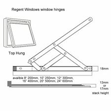 """10"""" 250mm Top Hung 17mm Window Friction Hinges stainless steel stay pvc upvc"""