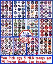 "75 Precut MLB Baseball Teams & Logos You Pick 5 Teams 1"" Bottle Cap Images"