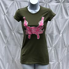 Protect Then Serve Ladies Women's Graphic Tee, Grn W Pink Crab Size S