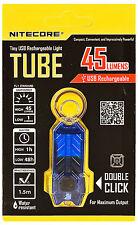 *NEW* NITECORE TUBE Tiny USB Rechargeable LED Keychain Light 45 Lumens - BLUE