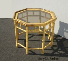 Vintage Mid Century Bamboo Rattan Octogon End Table Side Table
