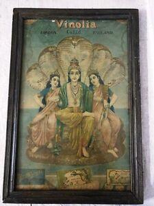 Antique Hindu God Vishnu Goddess Parvati Devi Print Vinolia London Ad England