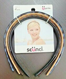 4x Conair Scunci Effortless Beauty Thin Plastic Headbands Black Blue Tan Brown