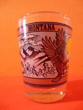 Liquor Shot Glass: MONTANA ~ With Sunset - Mountain Range - American Eagles