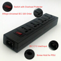 The Word Plug Black 4 Way Socket Outlet PDU with Switch Light Power Strip Board