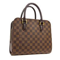 LOUIS VUITTON TRIANA HAND BAG VI1023 PURSE DAMIER CANVAS EBENE N51155 AK41585