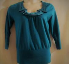 SIMPLY CHLOE DAO~Turquoise~Satin Trimmed Ruffle Square Neck Sweater~Medium~NWOT