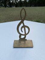 Brass Musical Note Mid Century Modernist Deco Art Music Nice Patina