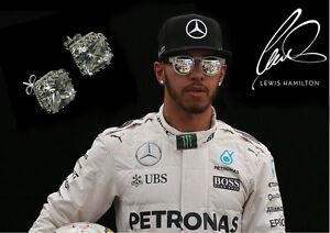 Men's/Boy's: Lewis Hamilton White Gold Plate Square Crystal Diamond Gem Earrings
