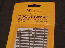 Micro- Engineering # 14-805 HO TURNOUT LH #6 Code 70 BIGDISCOUNTTRAINS