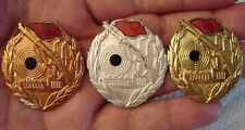 RUSSIA RUSSIAN SOVIET UNION CCCP USSR DDR SHOOTING BADGE SET BRONZE SILVER GOLD