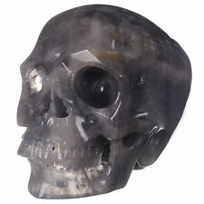 "7.99""Natural Magic Quartz  Crystal Carved skull Carving,Rare Collectibles 21C14"