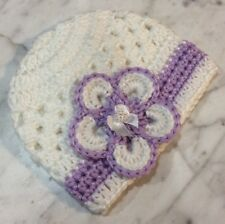 3fd9f48727f Handmade Crochet Baby Girl Hat 3-6 Months beanie White Lilac