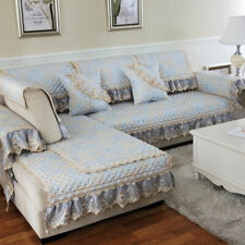 European Lace L shaped Sectional Sofa Cover Linen Slipcovers Couch Protector New