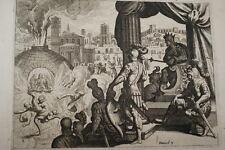 GRAVURE SUR CUIVRE ENFANTS DANS LA FOURNAISE-BIBLE 1670 LEMAISTRE DE SACY (B150)