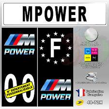 """Stickers Plaque D'immatriculation Fond Noir Logo """"M-Power"""" 4 pièces 100x45 mm"""