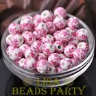 10pcs10mm Round Porcelain Ceramic Loose Spacer Big Hole Beads Charm Pink Flowers