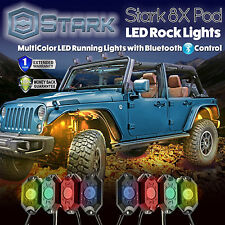 8PCS CREE RGB LED Multi-Color Offroad Rock Lights Bluetooth Music Flashing (A)