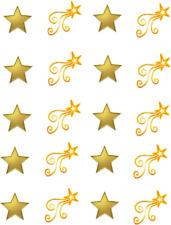 Gold Stars w/ Shooting Stars Waterslide Nail Decals/Nail art