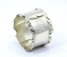 "Antique SHREVE & CO ROSE SCROLL 2597 Sterling Silver NAPKIN RING Holder ""LMS"""