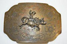 Vintage Aged Worn Western Cowboy Bucking Bull Riding Rider Belt Buckle Rare