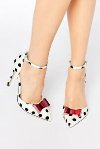 Asos Spot Polka Dot Point Toe Ankle Strap Court Bow Heels Size 3