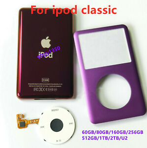 Purple front faceplate back case cover housing click wheel fr ipod 6/7th classic