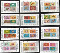 China Hong Kong 1987 - 1998  New Year Full stamps S/S x 12 Zodiac Rabbit