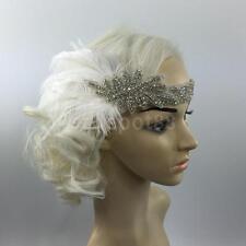 White VINTAGE Feather Headpiece FLAPPER Headband GREAT GATSBY Fancy Dress