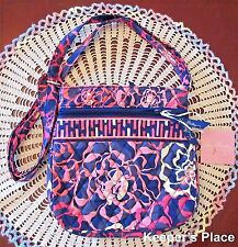 Vera Bradley Katalina Pink Petite Double Zip Hipster Crossbody Bag New