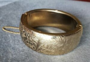 Vintage Ladies Chunky Gold Plated Etched Bracelet Bangle - Stamped Empire Made