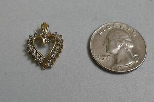 Vintage 10k White & Yellow Gold Heart Pendant with Diamonds
