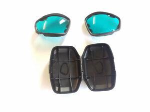 ESS Advancer V12 protective goggle blue lenses and lens pod