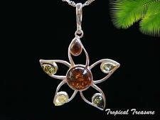 Baltic Amber & 925 SOLID Silver Pendant & chain    #208060