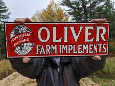 1960'S Heavy Old Vintage Oliver Farm Implements Dealer Porcelain Sign Tractor