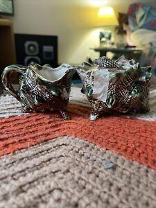 Decorative Glass Conch Shell Cream & Sugar Set