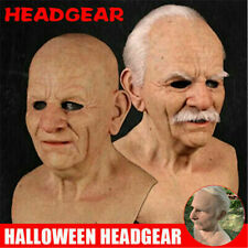 Halloween Old Man Headgear Realistic Silicone Masquerade Full Head Tricky Props