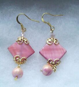 PINK SHEEN MOTHER OF PEARL EARRINGS