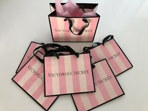 🌺 5xVictoria's Secret Pink Striped Paper Gift Bags Medium Black Satin Handle 🌺