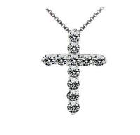 925 Silver Crystal Cross Pendant Chain Necklace Women Fashion Jewelry DZ005