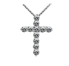 925 Silver Crystal Cross Pendant Chain Necklace Women Fashion Jewelry DZ005