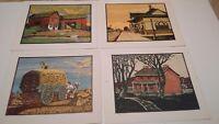"vintage original serigraph prints lot of 4 signed CM 8 1/2"" X 6 1/2"""