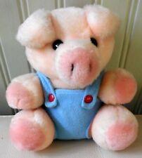 "Vintage 1986 Dakin Pig Plush Stuffed Animal Toy Blue Overalls 6"""
